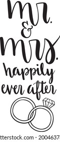 Mr and Mrs Happily Ever After Vector