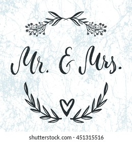 Mr and Mrs Invitation card. Vector isolated hand drawn lettering with abstract marble background and floral botanical wreath. Printable wedding card template. Modern cute brush pen calligraphy.
