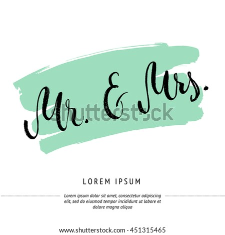 Mr And Mrs Invitation Card Vector Isolated Hand Drawn Lettering With Abstract Mint Background Printable Wedding Template