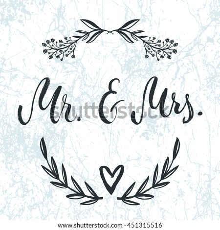 Mr And Mrs Invitation Card Vector Isolated Hand Drawn Lettering With Abstract Marble Background Floral Botanical Wreath Printable Wedding