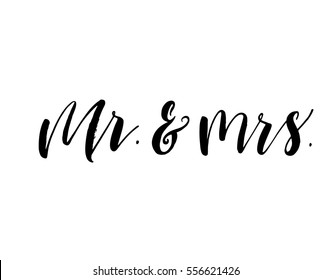 Mr and mrs postcard. Phrase for Valentine's and wedding day. Ink illustration. Modern brush calligraphy. Isolated on white background.