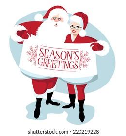 Mr. and Mrs. Santa Claus Season's Greetings EPS 10 vector