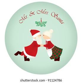 Mr & Mrs Santa under the mistletoe