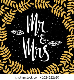 Mr and Mrs Sign . Handwritten cute lettering . wedding invitation .