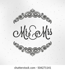 Mr and Mrs Sign. Mister and Miss Wedding Logo Design Background.