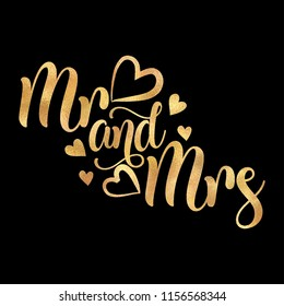 Mr and Mrs- Vector gold glitter typography on black background. Handwriting romantic lettering. Hand drawn illustration for postcard, wedding card, romantic valentine's day poster, t-shirt or gifts.