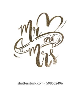 Mr and Mrs wedding backdrop design with gold glitter/ Typography poster design vector art
