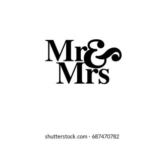 Mr & Mrs wedding hand written lettering. Wedding decoration. Mister and mrs for wedding and invitation elements. Traditional wedding words. Isolated on white background. Vector illustration.