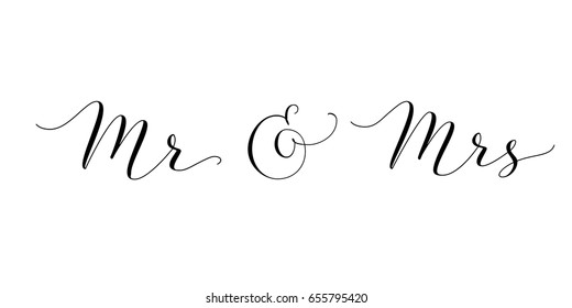 Mr and Mrs words with ampersand. Mister & Missis hand written custom calligraphy isolated on white. Great for wedding invitations design, table decoration, cards, banners, photo overlays.