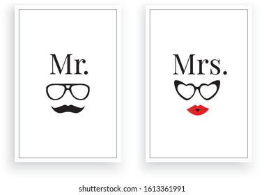 Mr. Right  Mrs.,Scandinavian Minimalist Art Design, Wall Decor Vector, Wall Decals, Lettering, Art Decor, Two pieces Wall Art isolated on white background. Poster Design, Couple T shirt design