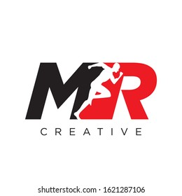MR RUN logo design vector icon modern sport