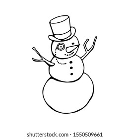 Mr. Snowman in a tall top hat and monocle. Vector line clip art isolated on white background.