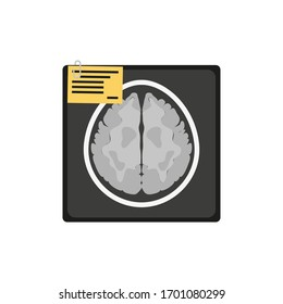 MRI of the brain. Flat icon with black brain for medical design. Vector icon design