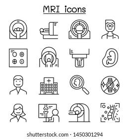 MRI diagnostic icon set in thin line style