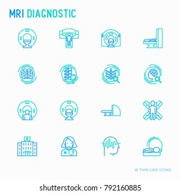 MRI diagnostics thin line icons set. Modern vector illustration of laboratory equipment.