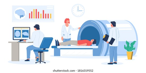MRI exam procedure in clinic. Doctors, medical professionals doing head or brain mri scan of patient male character, flat vector illustration. Magnetic resonance imaging. Medicine and healthcare.