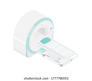 MRI - magnetic resonance imaging scan device in smart hospital medical machine isometric equipment healthcare technology isolated object 3d