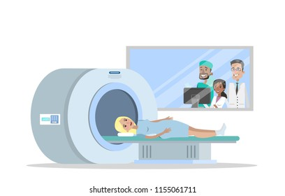 MRI process. Young woman lying in the MRI machine. Doctor making magnetic resonance imaging. Medical observation and healthcare. Vector flat illustration
