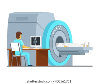 MRI scan and diagnostics patient, hospital, technology. Health and care concept. Vector illustration