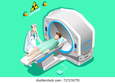Mri scan. Doctor and patient lying down in mri machine for ct brain scan. Hospital technology concept. 3D Flat isometric people vector illustration.