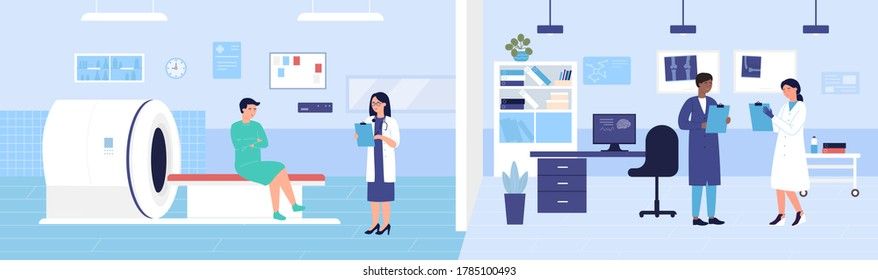 Mri scanner examination vector illustration. Cartoon flat medical scan hospital lab room with Mri machine, doctor characters exam patient, discuss diagnosis and treatment. Medicine research background