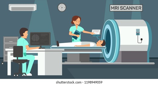 Mri Scanner. Magnetic Resonance Imaging of body. Medicine diagnostic Concept. Mri Room in Hospital. Medical Health care Set. Doctor and Patient in Clinic. Vector Flat Illustration.