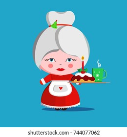 Mrs. Claus with Christmas cake and cup. Wife of Santa Claus and dessert. Christmas woman in red dress and white apron