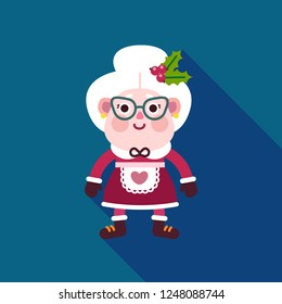 Mrs Claus icon. Cute happy character