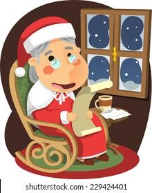Mrs Claus Mother Santa Christmas, vector illustration cartoon.