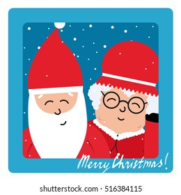 Mrs. Claus and Santa Claus selfie illustration. Flat Santa icon and Merry Christmas lettering phrase. Christmas selfie of Santa Claus.