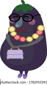 Mrs. eggplant with a bag in her hand. Stylish eggplant .Vector illustration on a white background.