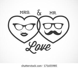 Mrs. and Mr. Love Vector Illustration in Vintage Style. Valentine's Day Background Template