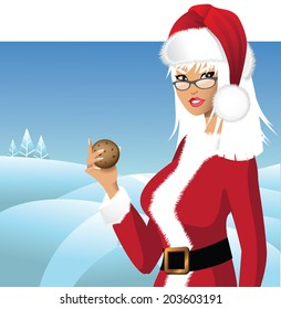 Mrs. Santa Claus with cookie background EPS 10 vector.