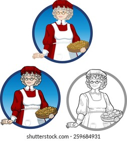 Mrs Santa Claus Mother Christmas with homemade cookies character illustration set cartoon style colored and lineart