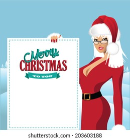 Mrs. Santa Claus with placard background EPS 10 vector.