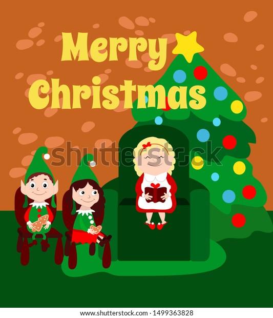 Mother Christmas Cartoon.Mrs Santa Claus Reading Book Little Stock Vector Royalty