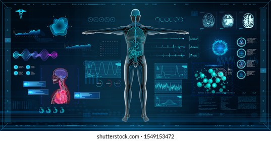 MRT and body scan in HUD style design, Human body, organs and brain scan with pictures. X-ray hi-tech healthcare. Virtual graphic touch HUD UI, cardiogram and data chart. Medical vector illustration