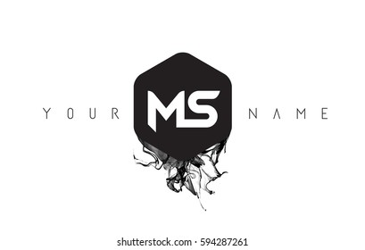 MS Black Ink Letter Logo Design with Rounded Hexagon Vector.