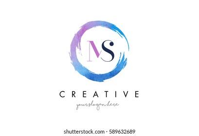MS Circular Letter Brush Logo. Pink Brush with Splash Concept Design.