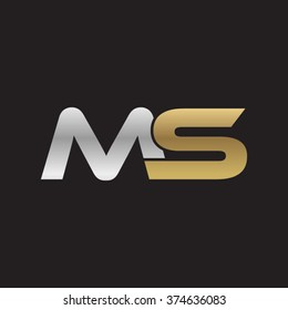 MS company linked letter logo golden silver black background