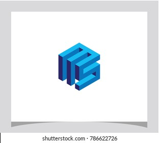 MS initial box abstract geometric hexagon cube symbol icon letter logo brand company design vector eps 10