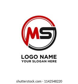MS initial circle logo template vector