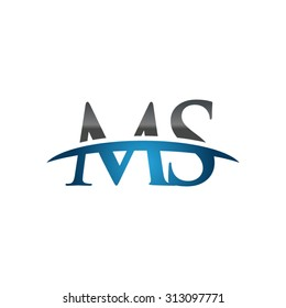 MS initial company blue swoosh logo