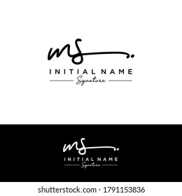 MS Initial letter handwriting and signature logo.