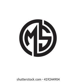 MS initial letters looping linked circle monogram logo
