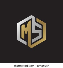 MS initial letters looping linked hexagon elegant logo golden silver black background