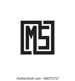 MS initial letters looping linked square monogram logo