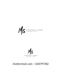 MS initial logo or Handwriting letter MS logo or MS logo or letter MS Signature logo
