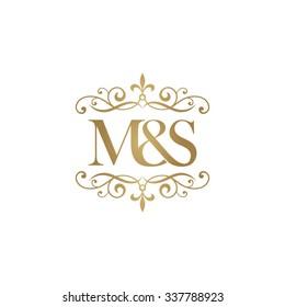 M&S Initial logo. Ornament ampersand monogram golden logo