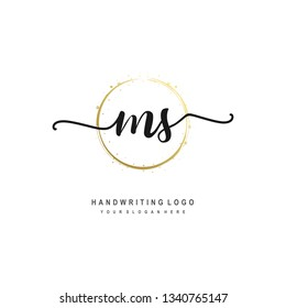 MS initial signature logo. handwriting logo template vector,